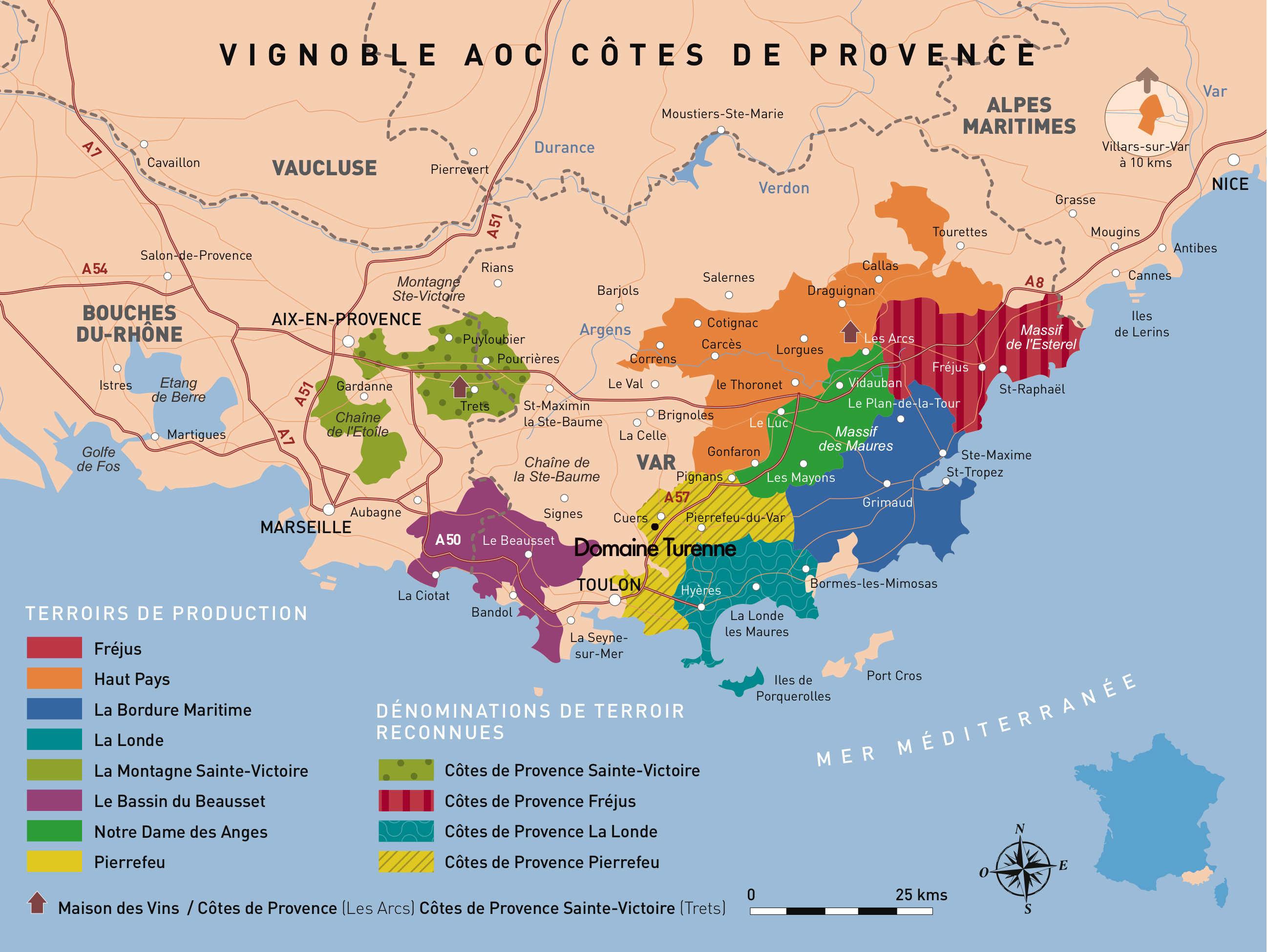 Carte des AOP Provence